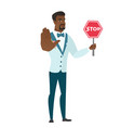 african-american groom holding stop road sign vector image vector image