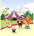 amusement park with circus artists and marquee vector image vector image