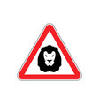attention lion leo on red triangle road sign vector image