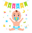 baby poster child and flag vector image vector image