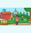 background in farmpeople using health protocol vector image