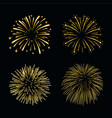 beautiful gold fireworks set bright fireworks vector image vector image