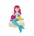 beautiful little mermaid - cartoon people vector image