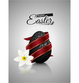 black mat realistic egg with metallic floral vector image vector image