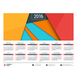 Calendar for 2016 Year Stationery Design Template vector image