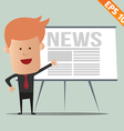 Cartoon business man present news - - EPS10 vector image vector image