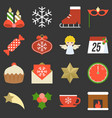 christmas icon ornaments and decoration vector image vector image