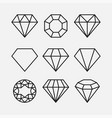 diamond line gem icon crystal value vector image vector image