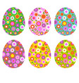 easter egg shapes with floral patterns vector image