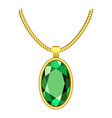emerald necklace icon realistic style vector image