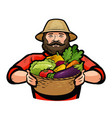 farmer holding a wicker basket full of fresh vector image vector image