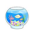 fish tank cartoon cute sea vector image vector image