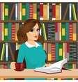 friendly brunette student girl studying in library vector image vector image