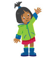 funny little girl waving by hand vector image vector image