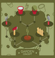 garden color isometric concept icons vector image