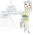 girl with bike in Paris vector image vector image