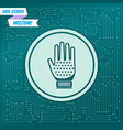 gloves icon on a green background with arrows in vector image