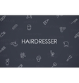 Hairdresser Thin Line Icons vector image
