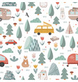 hand drawn seamless pattern with summer camping vector image