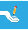 hand hold icon smartphone and pencil design flat vector image vector image