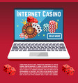 internet casino page template with dice poker vector image vector image