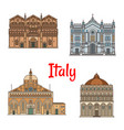 italian travel landmark thin line icon set design vector image vector image