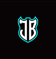 j b initial logo design with shield shape vector image vector image