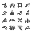 long hands giving black icons set vector image