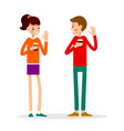 man and woman are standing drinking hot drink vector image vector image