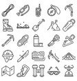 mountaineering equipment icon set outline style vector image
