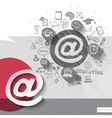 Paper and hand drawn mail emblem with icons vector image