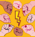 power hand protest strong background vector image vector image