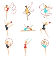 Rhythmic Gymnasts Training With Different vector image vector image
