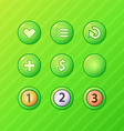set bright green game ui elements - menu restart vector image vector image
