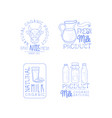 set of 4 hand drawn emblems for fresh dairy vector image vector image