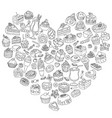 set of different sweets in the shape of heart vector image vector image