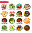 set of organic fruit labels collection vector image vector image