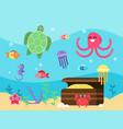 set of underwater landscape vector image vector image