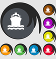 ship icon sign Symbol on eight colored buttons vector image vector image