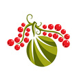 Single flat green leaf with red seeds Herbal and vector image vector image