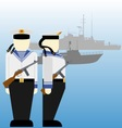 Soviet sailors during the Second World War vector image vector image
