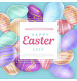 square with inscription on easter eggs vector image vector image
