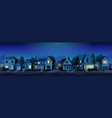 street with suburban houses with lights at night vector image
