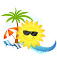 sun with glasses on waves for tourism vector image