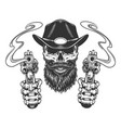 vintage bearded and mustached sheriff skull vector image vector image