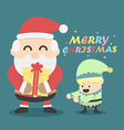 Vintage Christmas card Santa claus and Christmas vector image vector image