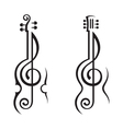 Violin guitar and treble clef vector image