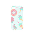 white phone cover with colorful sweets ornament vector image