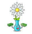 with money modern plant in a glass vase cartoon vector image vector image