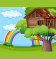 wooden treehouse in park vector image vector image